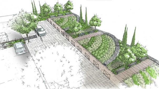 Amenagement d un parking paysager pour la salle for Architecture de jardin